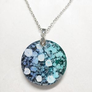 Necklace Blue and Teal Resin Pendant